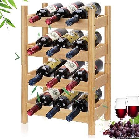 Lisuu - stabelbares Bambus Weinregal für 6/12 Weinflaschen nur 6,99€ inkl. VSK