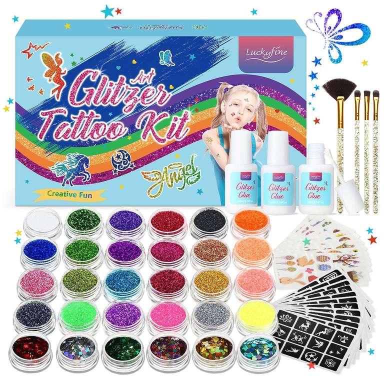 Luckyfine Glitzer Tattoo Set (30 Tuben & 200 Schablonen) für 9,90€ inkl. Prime Versand
