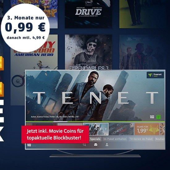 3 Monate Freenet Video für 0,99€ testen + Gratis 5€ Amazon Gutschein (monatlich kündbar!) + z.B. Film Tenet!