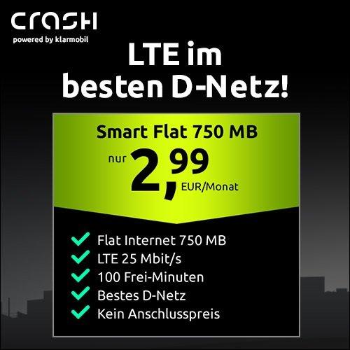Crash: Telekom Tarif mit 100 Minuten und 750 MB LTE für 2,99€ mtl. (keine Anschlussgebühr!)