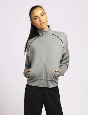 Calvin Klein Sweatjacke mit dezentem Logoprint -  grau meliert für 35,59€ inkl. Versand (statt 49€)