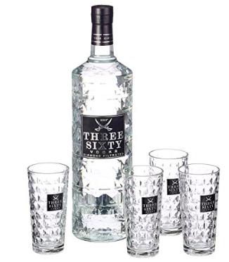 3 Liter Three Sixty Vodka (37.5% vol) + 4 Longdrinkgläser für 44,83€ (statt 53€)