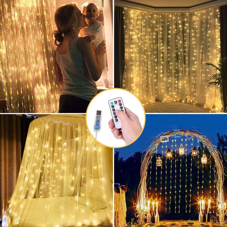 Ousfot LED-Lichtervorhang (3x3m, 300 LEDs) für 10,39€ inkl. Versand (Prime)