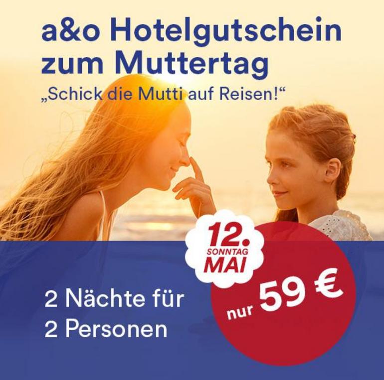 A&O Hotelgutschein: 3 Tage für 2 Personen (22 Städte, 34 Hotels) für 59€