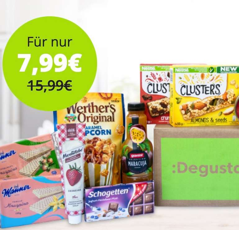 Degusta Überraschungsbox mit ca. 15 Lebensmitteln für 7,99€ (statt 16€)