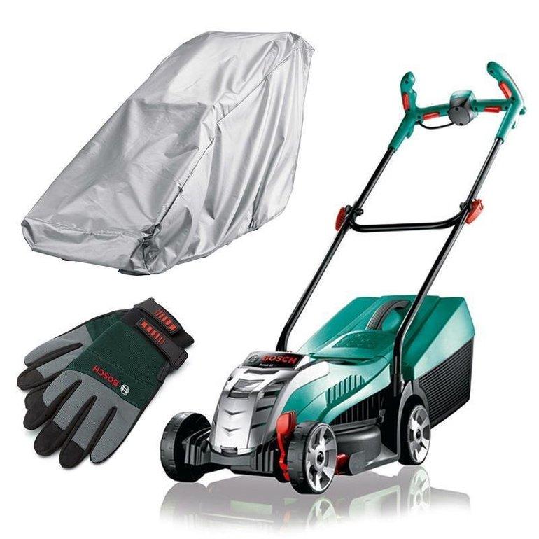 Bosch Rotak 32 Li Akku-Rasenmäher (4,0Ah) + Handschuhe & Regenschutz für 229,90€