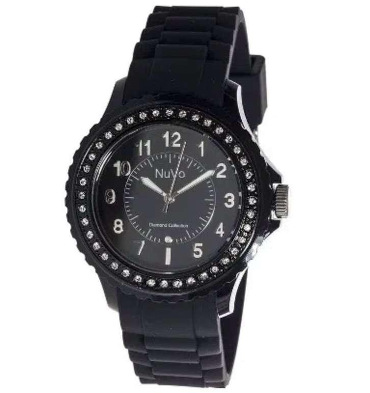 Nuvo Eternity - Sportliche Diamant-Damenuhr mit schwarzem Silikonarmband für 35€ (statt 100€)