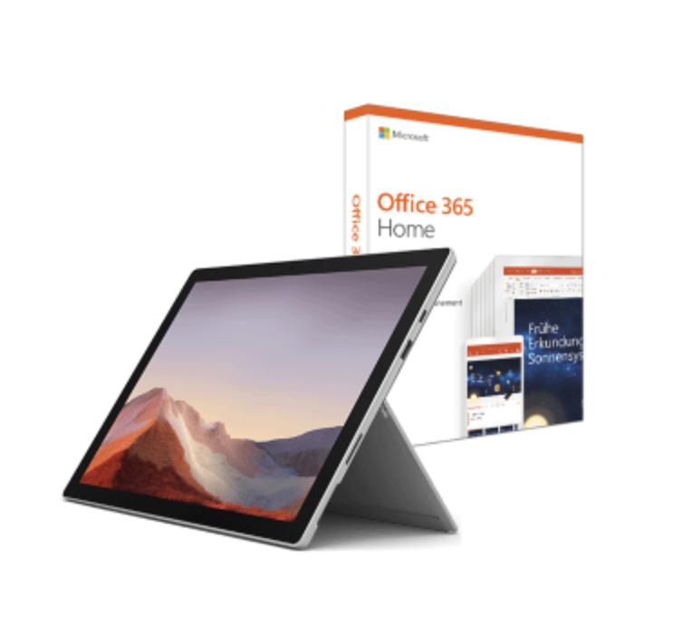 Microsoft Surface Pro 7 128GB mit i5 & 8GB - platin inkl. Microsoft Office 365 Home für 799€ inkl. Versand (statt 897€)