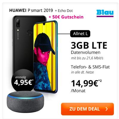 Huawei P Smart (2019) + 50€ Amazon + Echo Dot + 3GB Blau Allnet 14,99€ mtl.