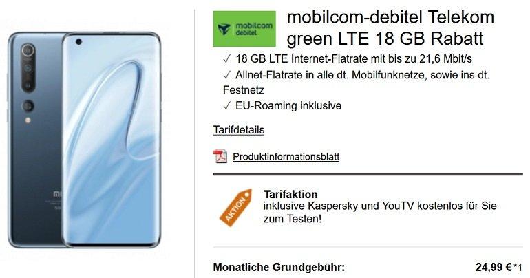 Xiaomi Mi 10 mobilcom-debitel Telekom green Allnet-Flat mit 18GB LTE
