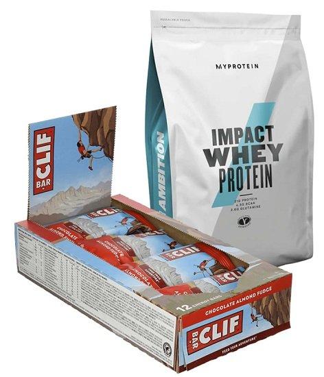 2 x 1kg Impact Whey Protein MHD (2000g) + 24er Pack Clif Bar Chocolate Almond Fudge (24x68g) für 40,10€ inkl. Versand