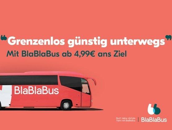 BlaBlaBus: Wertgutschein für eine Fahrt durch Europa - 9,99€ für 5,99€ oder 19,99€ für 10,99€