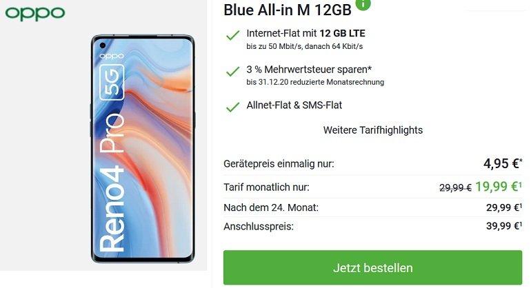 OPPO Reno4 Pro 5G o2 Blue All-in M mit 12GB LTE 2