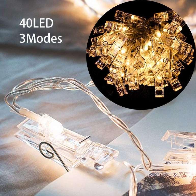 Hengda warmweiße Fotoclips Lichterkette mit 40 LEDs in 2 Varianten ab 5,99€ (Prime)
