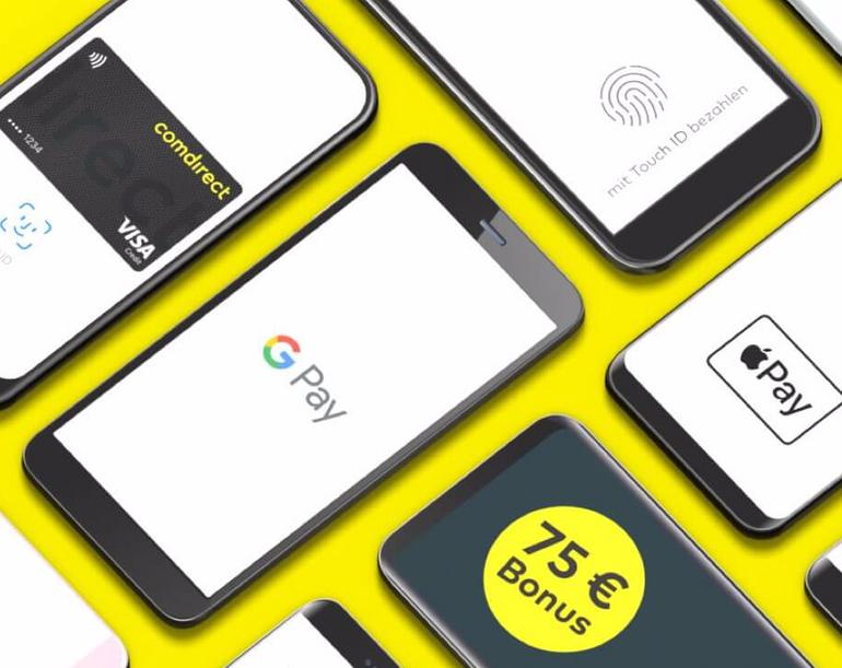 Comdirect Girokonto mit 75€ Prämie für 3 mobile Zahlungen (Apple & Google Pay)
