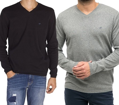 Mustang klassischer Sweater mit V-Ausschnitt für 19,99€ inkl. Versand