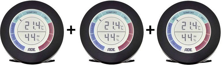 3er Pack ADE WS 1831 Thermo-Hygrometer