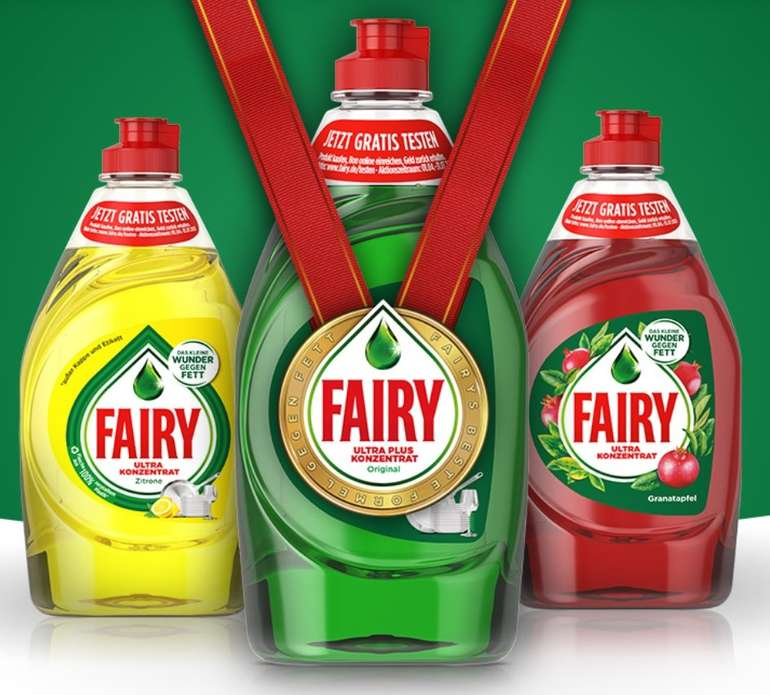 Fairy Handspülmittel gratis testen durch Geld-zurück-Garantie (GzG)