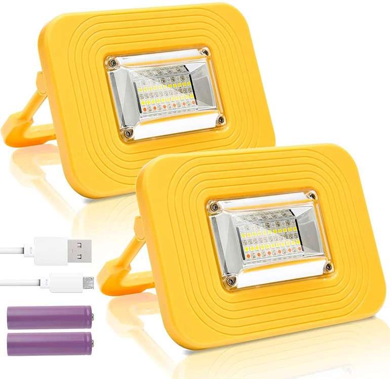 Wolketon 2er Pack Akku LED Strahler mit 3 Modi (20 oder 30 Watt) ab 16,79€ inkl. Versand (statt 24€)
