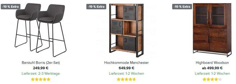 Home24 19% Rabatt auf viele Wohn- & Esszimmermöbel