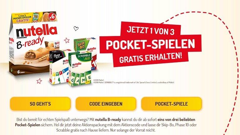 nutella B-ready Aktionspackung Pocketspiel