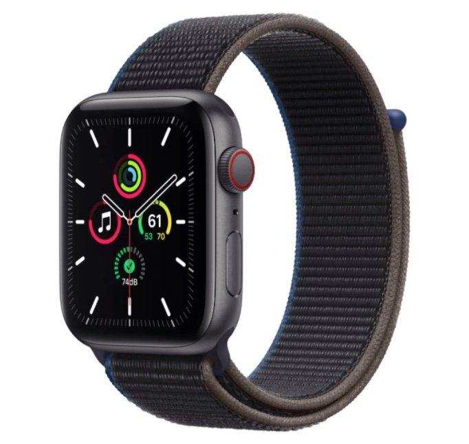 Apple Watch SE 44mm (GPS + Cellular) Silber mit Sport Loop in space grau für 309,64€ (statt 365€)
