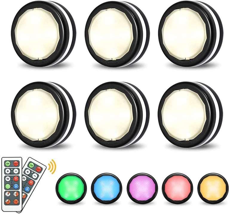 Elfeland 6er Pack RGB LED Schrankleuchten mit Fernbedienung für 12,93€ inkl. Prime Versand (statt 20€)