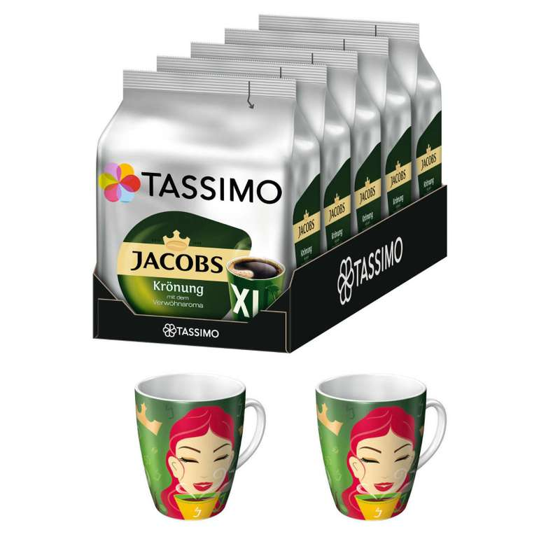 Tassimo - Jacobs Krönung XL 80 Discs (5 x 16) + 2 Ritzenhoff Sammelbecher für 19,95€ (statt 29€)