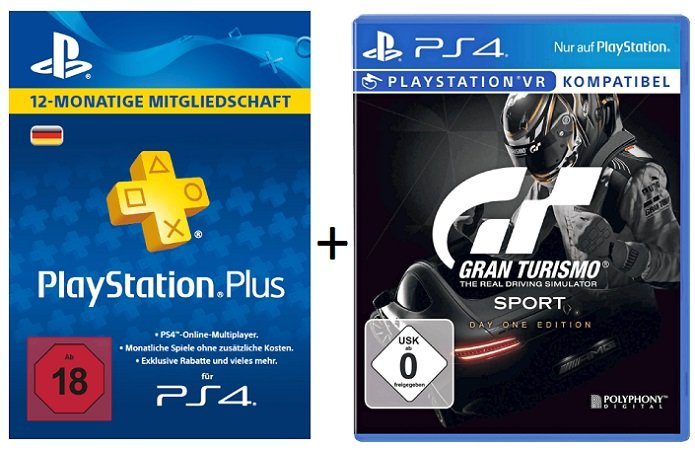 Playstation Plus Live Card 365 Tage + Gran Turismo Sport Day 1 Edition für 55€