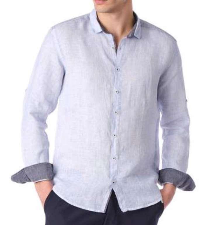 Ron Tomson Herren Hemd aus 100% Leinen (Langarm, Kentkragen, Regular Fit) für 41,98€ (statt 53€)
