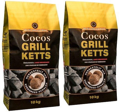 20kg Cocos Grillketts - ökologische Grill Briketts aus der Kokosnuss für 27,99€
