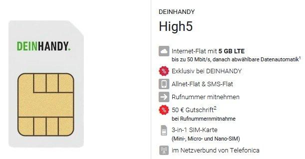 DeinHandy o2 Allnet-Flat mit 5GB LTE