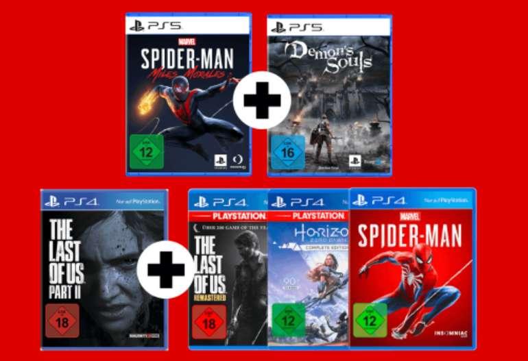 MM Sony Bundle Aktion - z.B PS5 Marvel's Spider-Man: Miles Morales + Demon's Souls für 69,99€ inkl. Versand