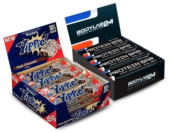 Wieder da! 12x Bodylab24 Protein Bar 65g Riegel + 12x Weider Yippie! 45g Bar für 21,99€