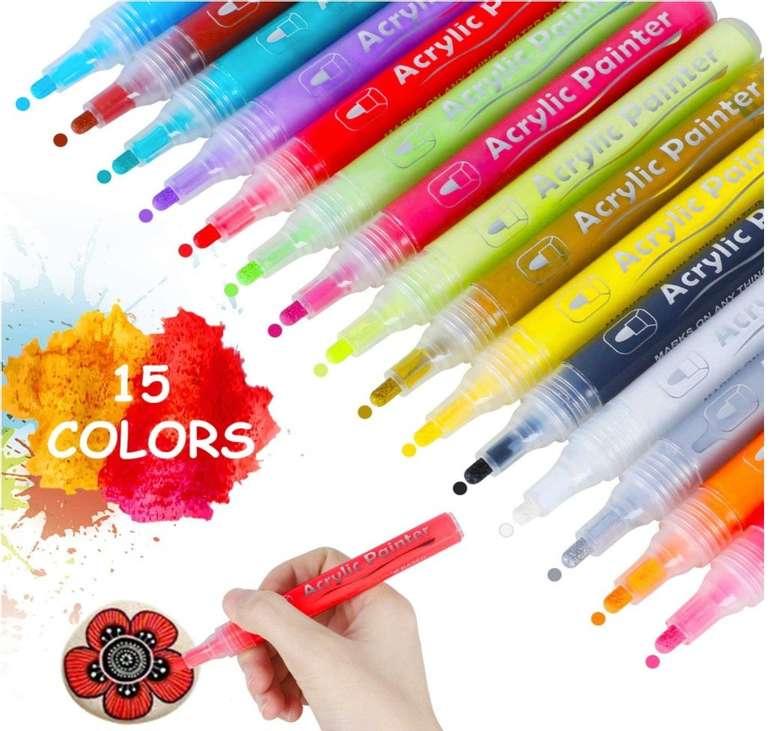 Hhoomy Acrylstifte Set mit 15 Farben für 6,79€ inkl. Prime Versand (statt 13,59€)
