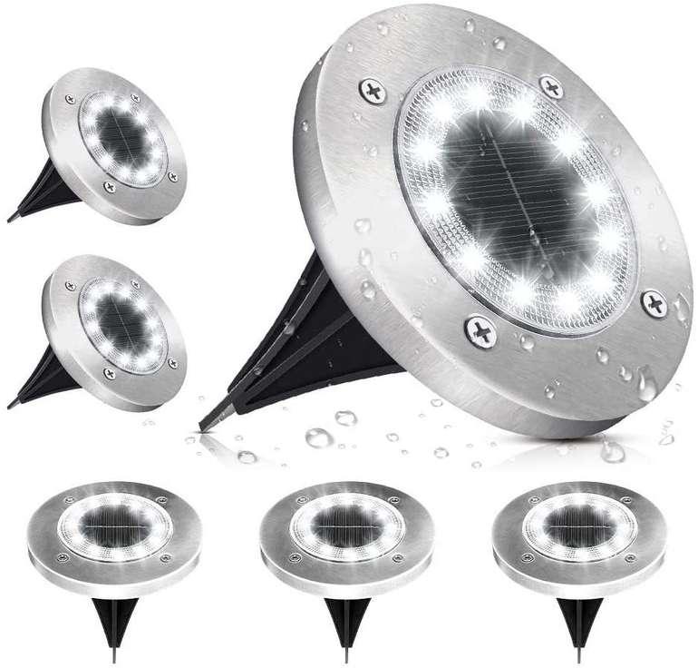 Solmore 6er Pack LED Solar Bodenleuchten (6000K, IP65) für 12,99€ inkl. Prime Versand (statt 17€)