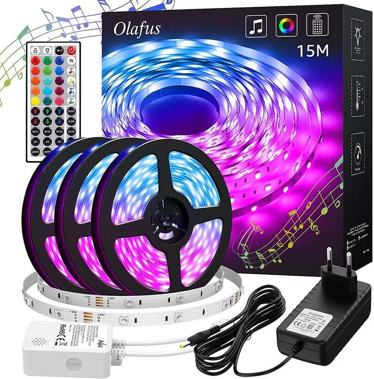 Olafus 15m RGB LED Streifen (Music Sync, Fernbedienung) für 14,99€ inkl. Prime Versand
