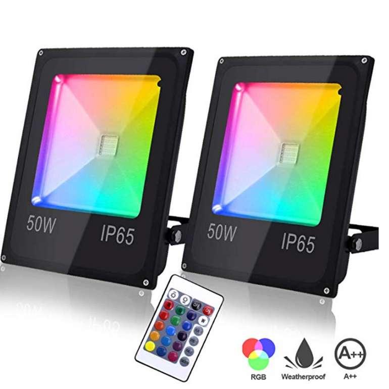 Hengda 2er 50W RGB LED Fluter für Außen mit 16 Farben für 38,49€ inkl. Versand (statt 55€)