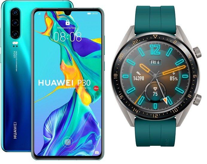 Huawei P30 + Watch GT Active (+1€) inkl. o2 Allnet-Flat  5GB LTE für 19,99€ mtl.