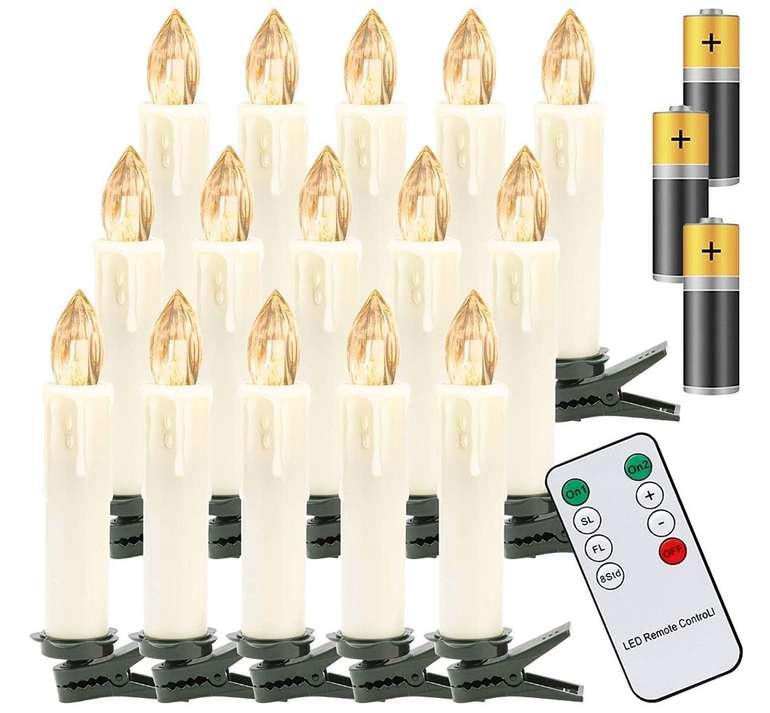 Hengda LED Weihnachtskerzen reduziert, z.B. 30x Warmweiß mit Fernbedienung & Batterien für 19,83€