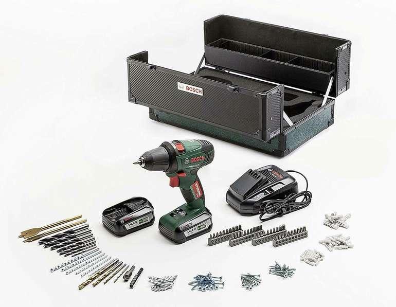 Bosch PSR 14,4 V LI Akku Bohrschrauber mit 2 x 2,5Ah Akkus + 241tlg. Toolbox im Werkzeugkoffer für 89€