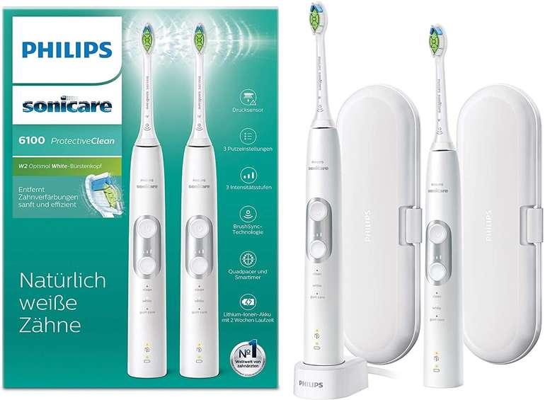 Philips Sonicare ProtectiveClean 6100 HX6877/34 - Elektrische Zahnbürste als Doppelpack für 135,90€