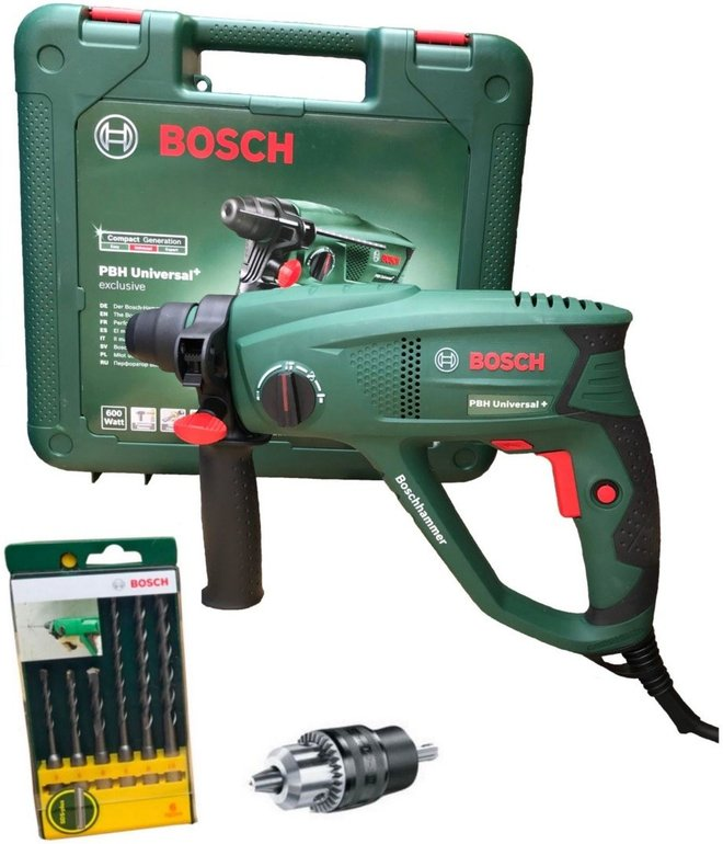 Bosch PBH Universal+ 2500 SRE Bohrhammer + 6-tlg. SDS-Plus Bohrer-Set zu 109,99€