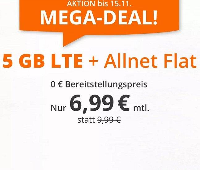 Sim.de Mega-Deal: 5GB LTE + Allnet Flat für 6,99€ mtl. (statt 9,99€)