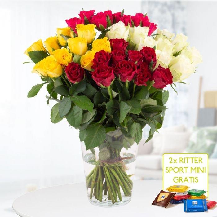 40 orange oder bunte Rosen (40cm) + 2 gratis Ritter Sport Mini-Schokis + Grußkarte für 24,90€