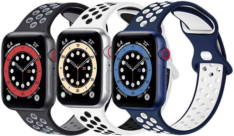 Fenglin 3er Pack Silikon Armbänder (Apple Watch kompatibel) für 6,40€ inkl. Prime Versand
