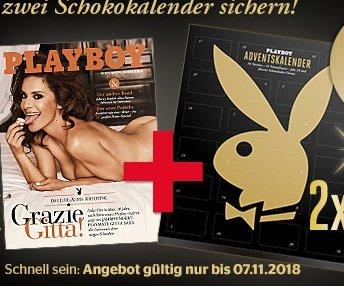 4 Ausgaben Playboy + 2 Playboy Schoko Adventskalender für 26€ (statt 55€)