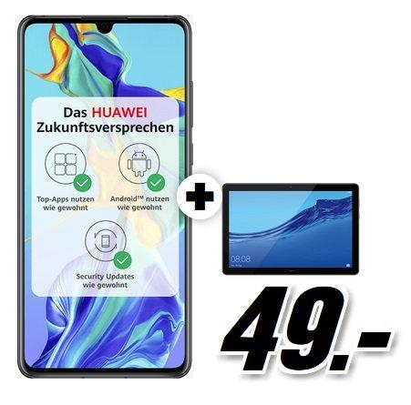 Huawei P30 & Mediapad T5 10 (49€) + green LTE 10GB Spezial (D2-Netz, All-Net Flat, 10GB LTE) 26,99€ mtl.