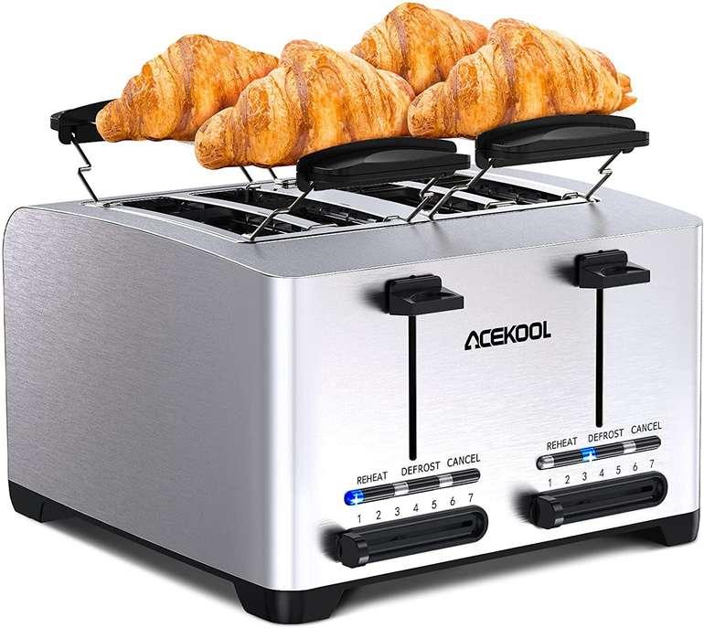 """Acekool """"THT-3012A"""" - 4 Scheiben Toaster (1500 Watt, Brötchenaufsatz) für 19,99€ inkl. Versand (statt 40€)"""