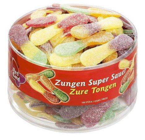 6 Dosen Red Band Fruchtgummi Zungen Super-Sauer (je 100 Stck.) für 13,79€